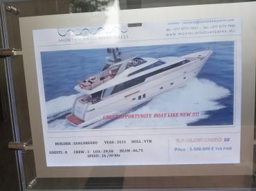 Il prezzo di uno yacht usato...
